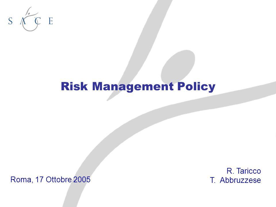 Risk Management Policy Roma, 17 Ottobre 2005 R. Taricco T. Abbruzzese
