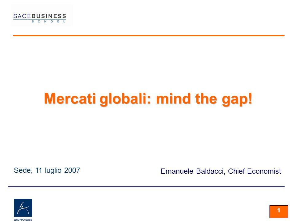1 Sede, 11 luglio 2007 Emanuele Baldacci, Chief Economist Mercati globali: mind the gap!