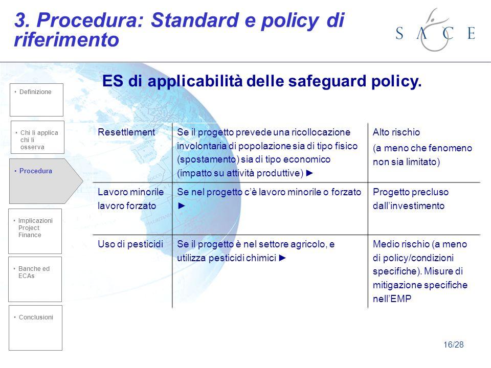 3. Procedura: Standard e policy di riferimento Chi li applica chi li osserva Implicazioni Project Finance Procedura Banche ed ECAs Conclusioni Definiz