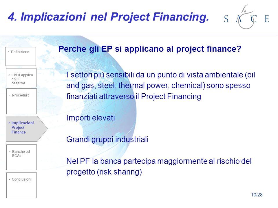 4. Implicazioni nel Project Financing. I settori più sensibili da un punto di vista ambientale (oil and gas, steel, thermal power, chemical) sono spes