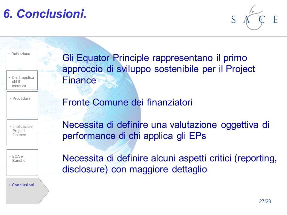 Chi li applica chi li osserva Procedura Conclusioni Implicazioni Project Finance defiznione Chi li applica chi li osserva Procedura Definizione 6.