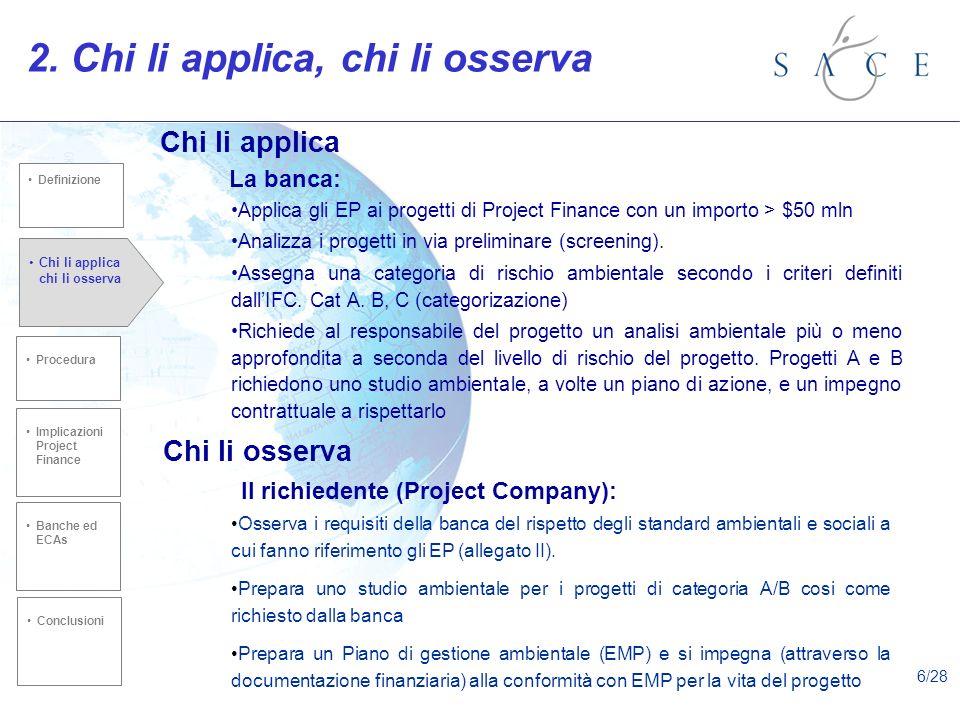 Applica gli EP ai progetti di Project Finance con un importo > $50 mln Analizza i progetti in via preliminare (screening). Assegna una categoria di ri