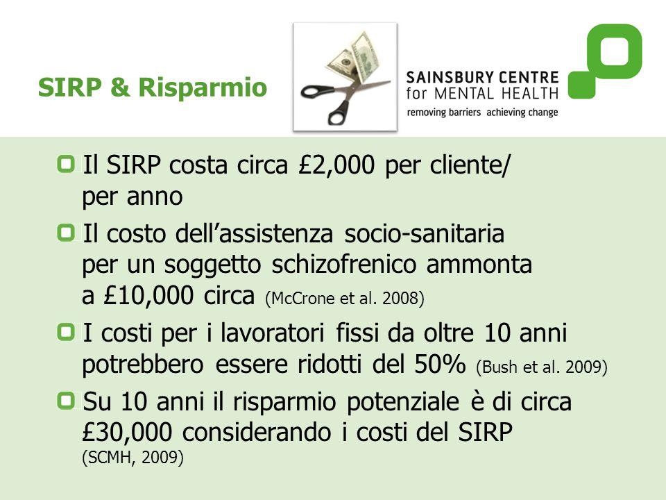 SIRP & Risparmio Il SIRP costa circa £2,000 per cliente/ per anno Il costo dellassistenza socio-sanitaria per un soggetto schizofrenico ammonta a £10,000 circa (McCrone et al.
