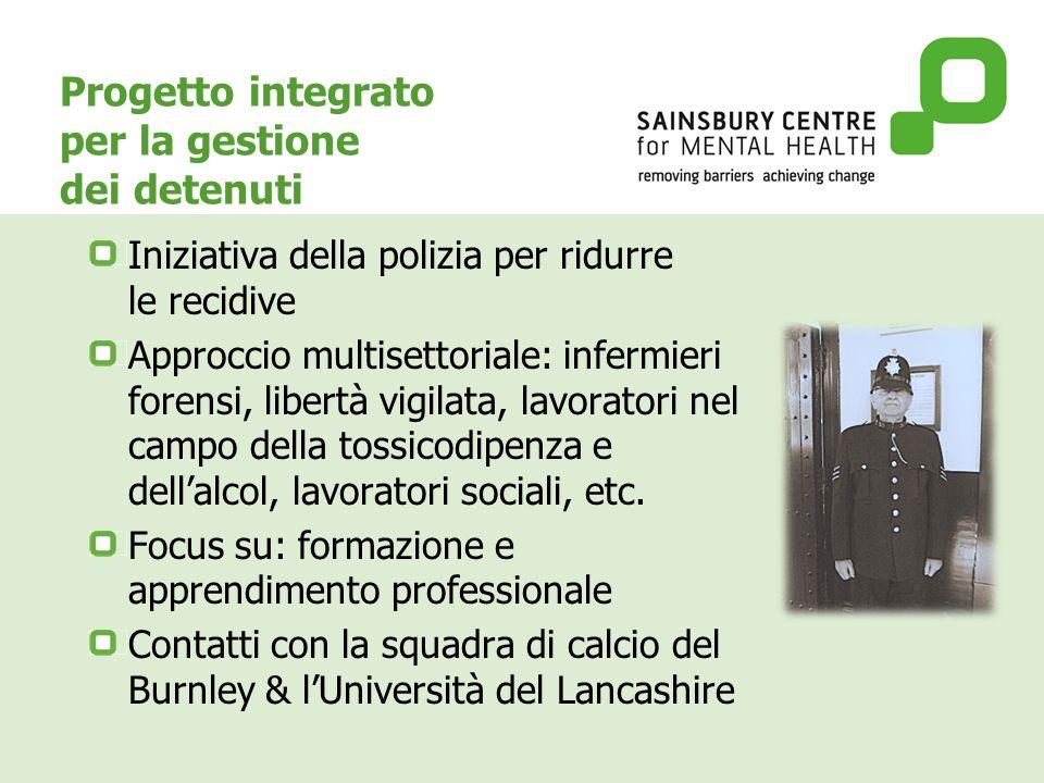 Progetto integrato per la gestione dei detenuti Iniziativa della polizia per ridurre le recidive Approccio multisettoriale: infermieri forensi, libertà vigilata, lavoratori nel campo della tossicodipenza e dellalcol, lavoratori sociali, etc.