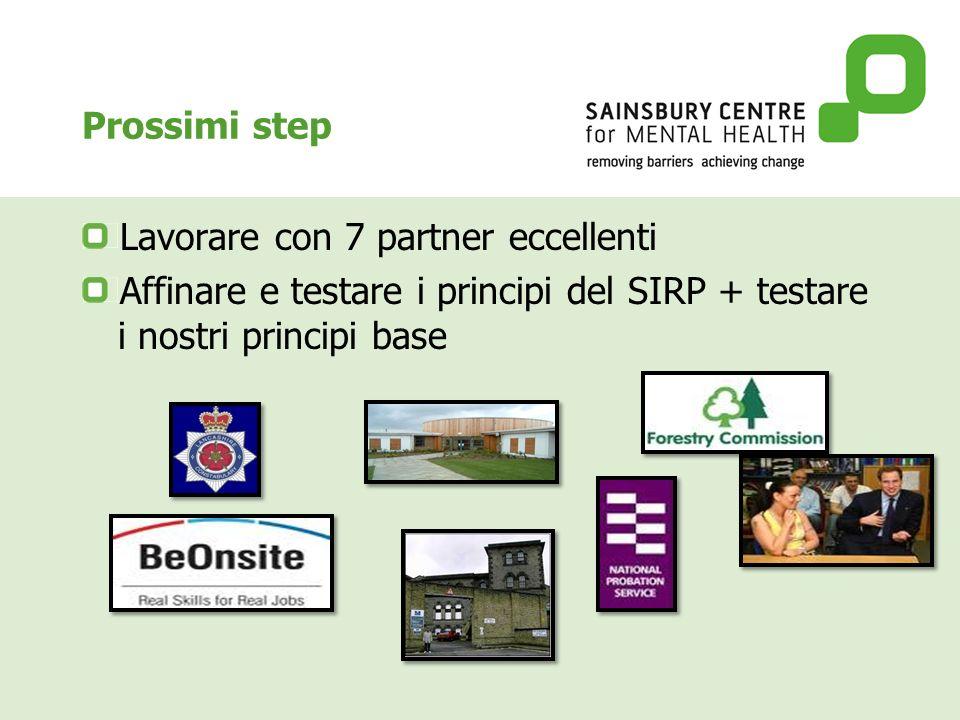 Prossimi step Lavorare con 7 partner eccellenti Affinare e testare i principi del SIRP + testare i nostri principi base