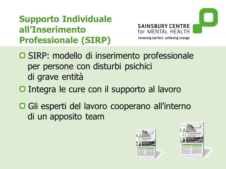 Supporto Individuale allInserimento Professionale (SIRP) SIRP: modello di inserimento professionale per persone con disturbi psichici di grave entità Integra le cure con il supporto al lavoro Gli esperti del lavoro cooperano allinterno di un apposito team