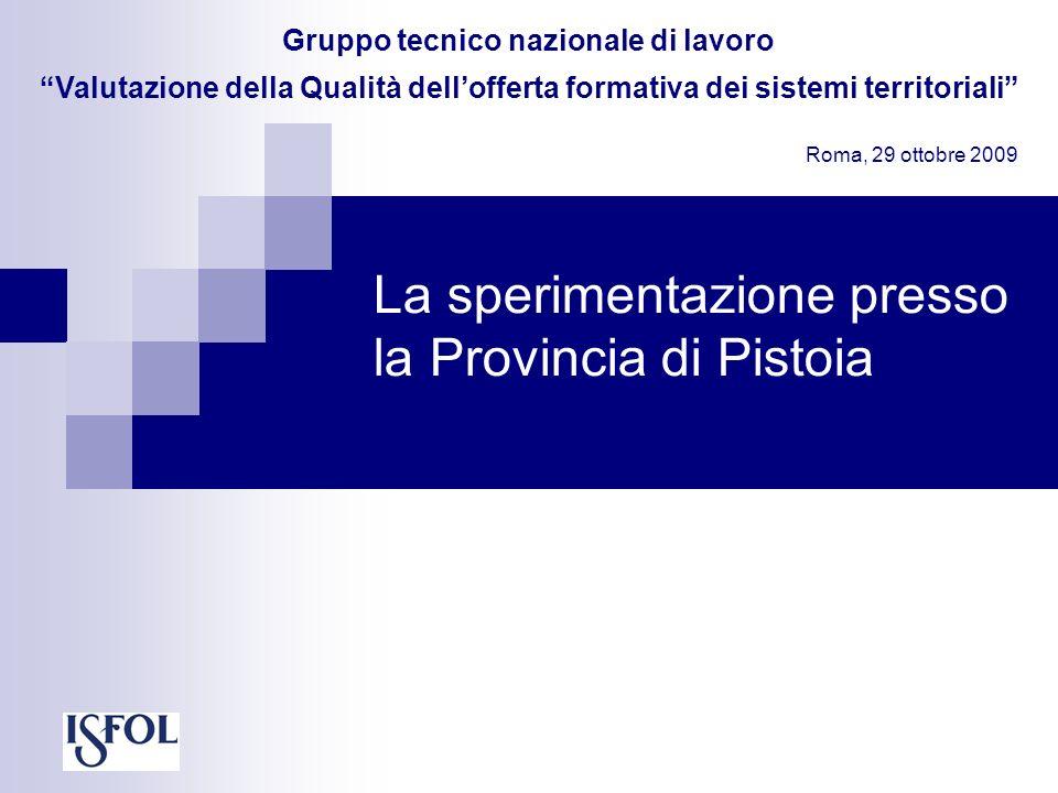 La sperimentazione presso la Provincia di Pistoia Gruppo tecnico nazionale di lavoro Valutazione della Qualità dellofferta formativa dei sistemi territoriali Roma, 29 ottobre 2009
