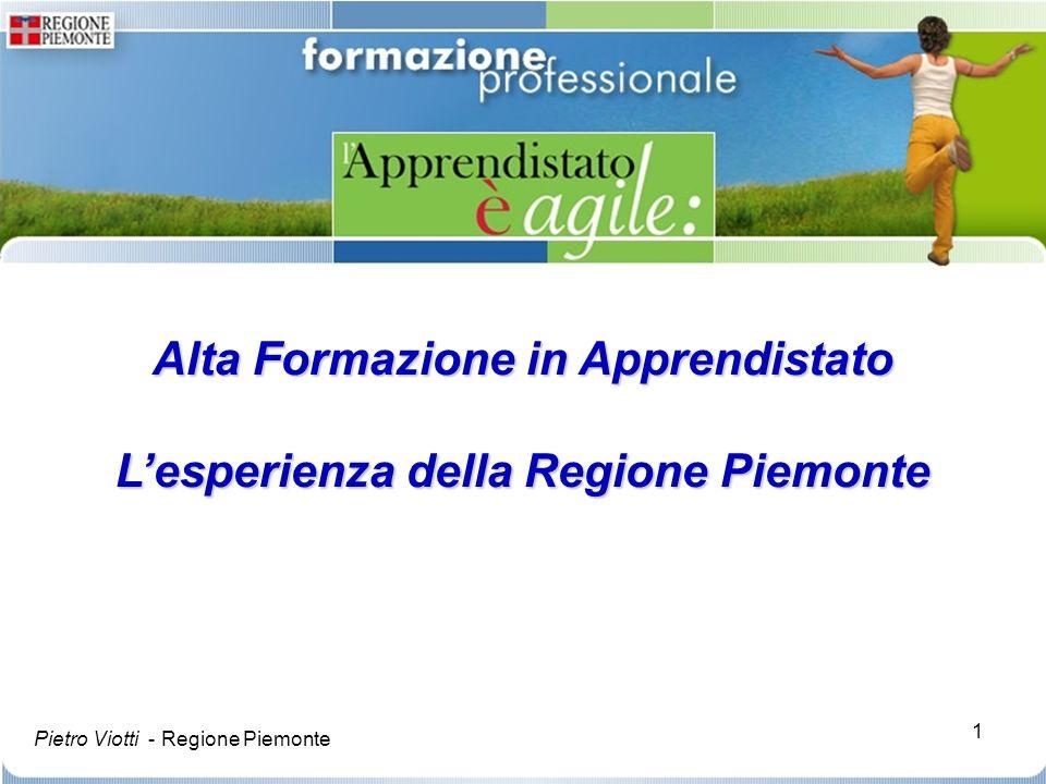 1 Alta Formazione in Apprendistato Lesperienza della Regione Piemonte Pietro Viotti - Regione Piemonte