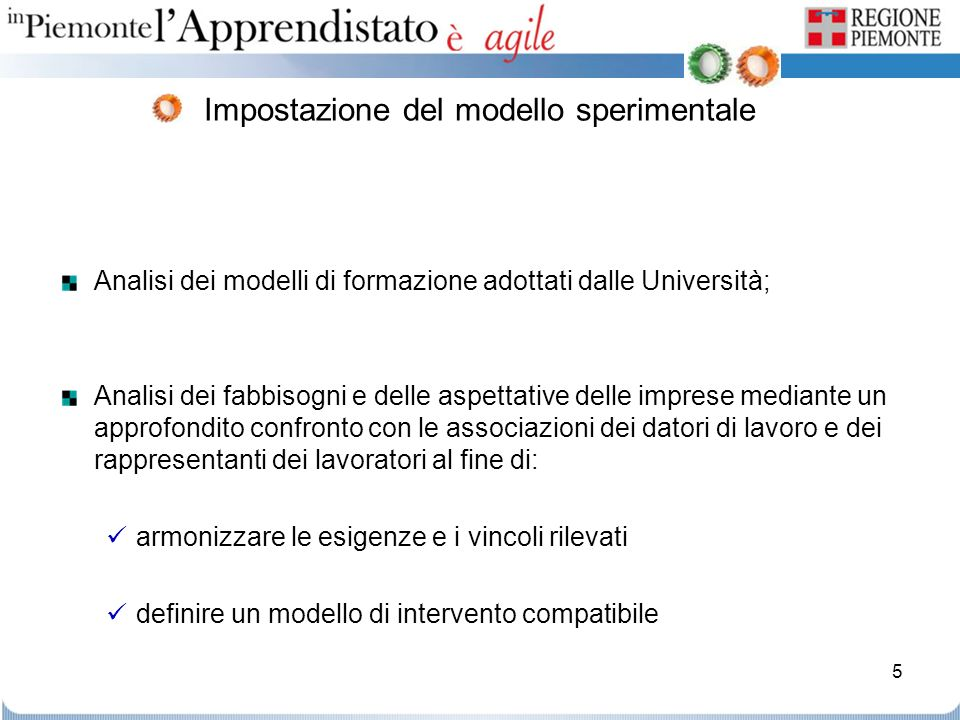 5 Impostazione del modello sperimentale Analisi dei modelli di formazione adottati dalle Università; Analisi dei fabbisogni e delle aspettative delle