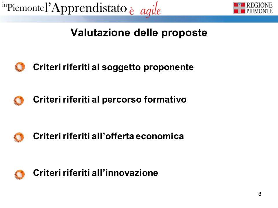 8 Valutazione delle proposte Criteri riferiti al soggetto proponente Criteri riferiti al percorso formativo Criteri riferiti allofferta economica Crit