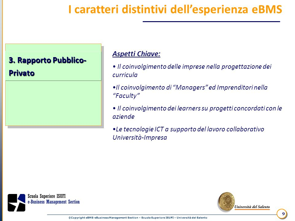 @Copyright eBMS-eBusiness Management Section – Scuola Superiore ISUFI – Università del Salento 9 I caratteri distintivi dellesperienza eBMS Aspetti Ch