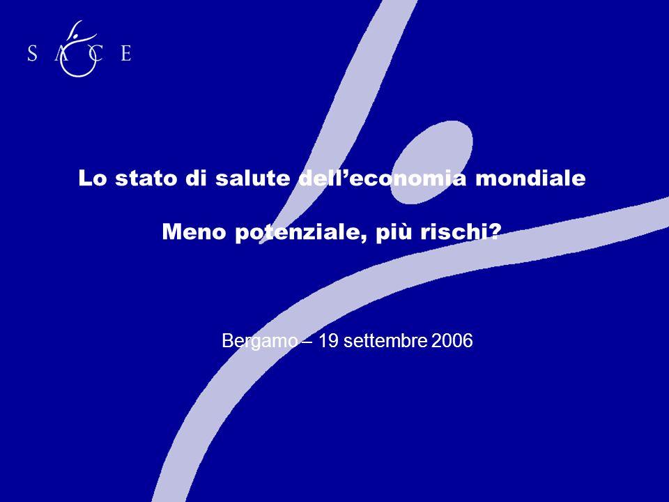 Lo stato di salute delleconomia mondiale Meno potenziale, più rischi Bergamo – 19 settembre 2006