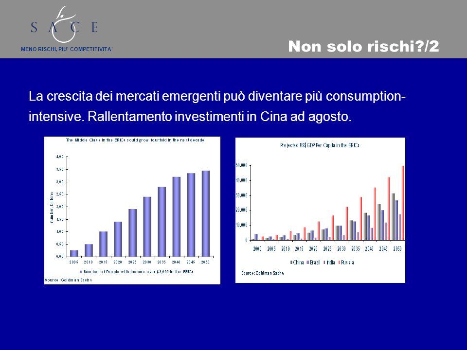 MENO RISCHI, PIU COMPETITIVITA Non solo rischi /2 La crescita dei mercati emergenti può diventare più consumption- intensive.