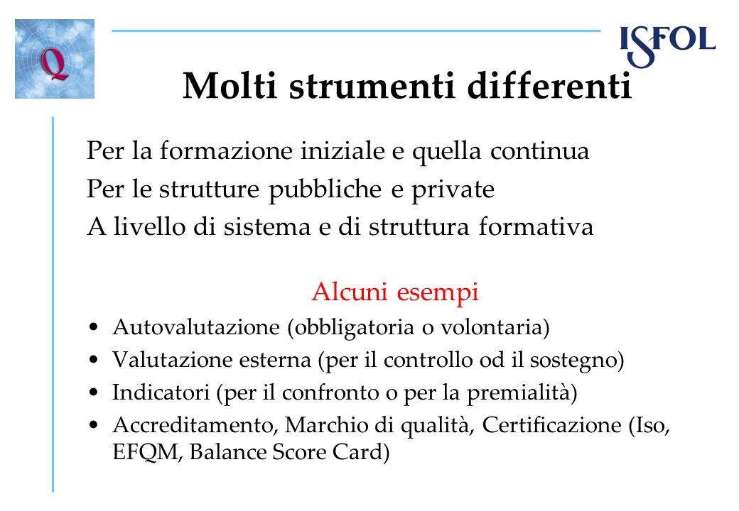 Molti strumenti differenti Per la formazione iniziale e quella continua Per le strutture pubbliche e private A livello di sistema e di struttura forma