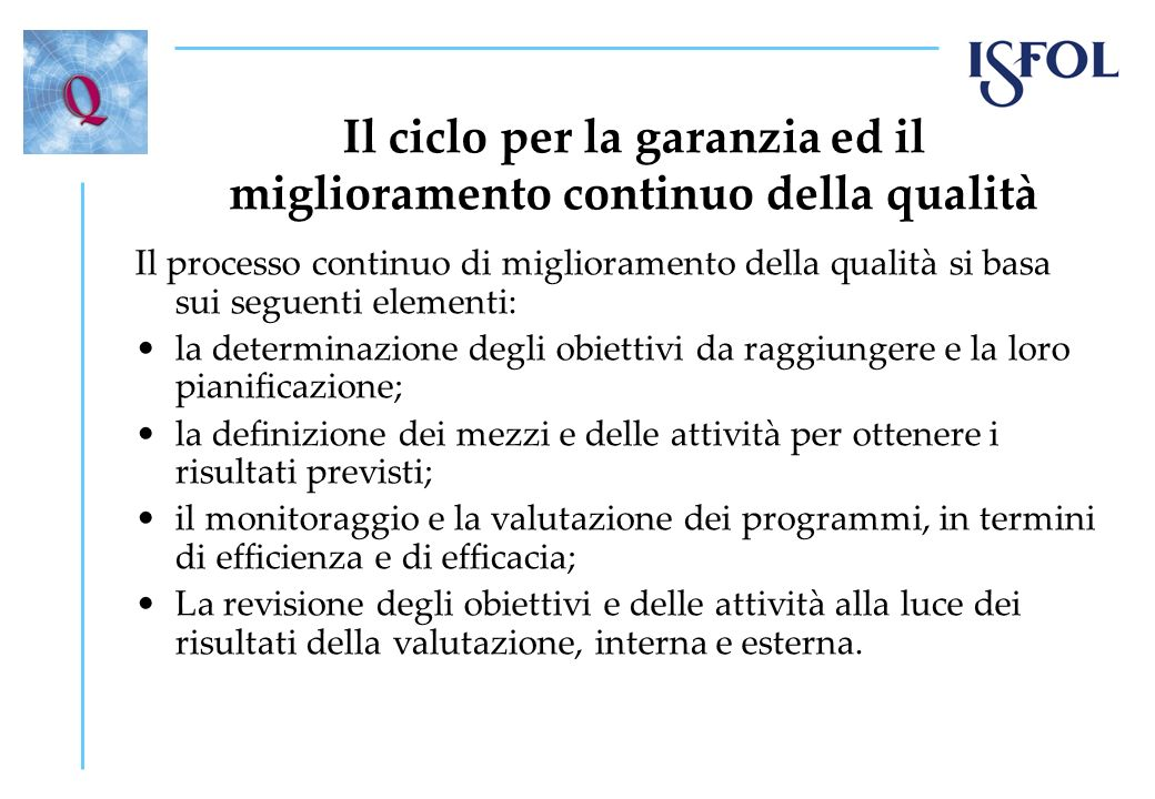 Il ciclo per la garanzia ed il miglioramento continuo della qualità Il processo continuo di miglioramento della qualità si basa sui seguenti elementi: