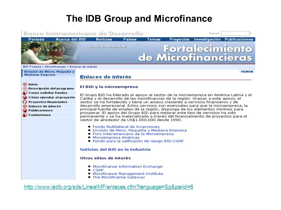 The IDB Group and Microfinance http://www.iadb.org/sds/LineaIMF/enlaces.cfm language=Sp&parid=6