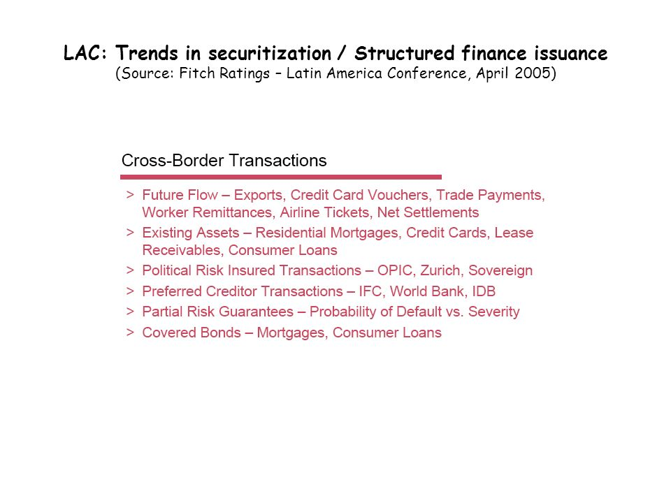 LAC: Trends in securitization / Structured finance issuance (Source: Fitch Ratings – Latin America Conference, April 2005)