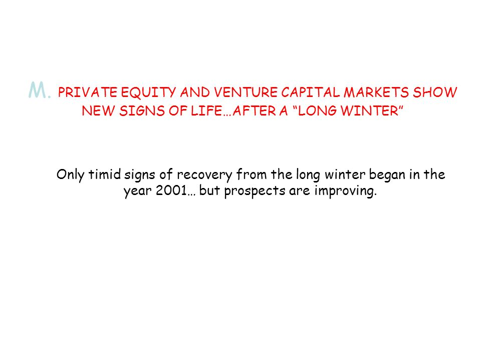Only timid signs of recovery from the long winter began in the year 2001… but prospects are improving.