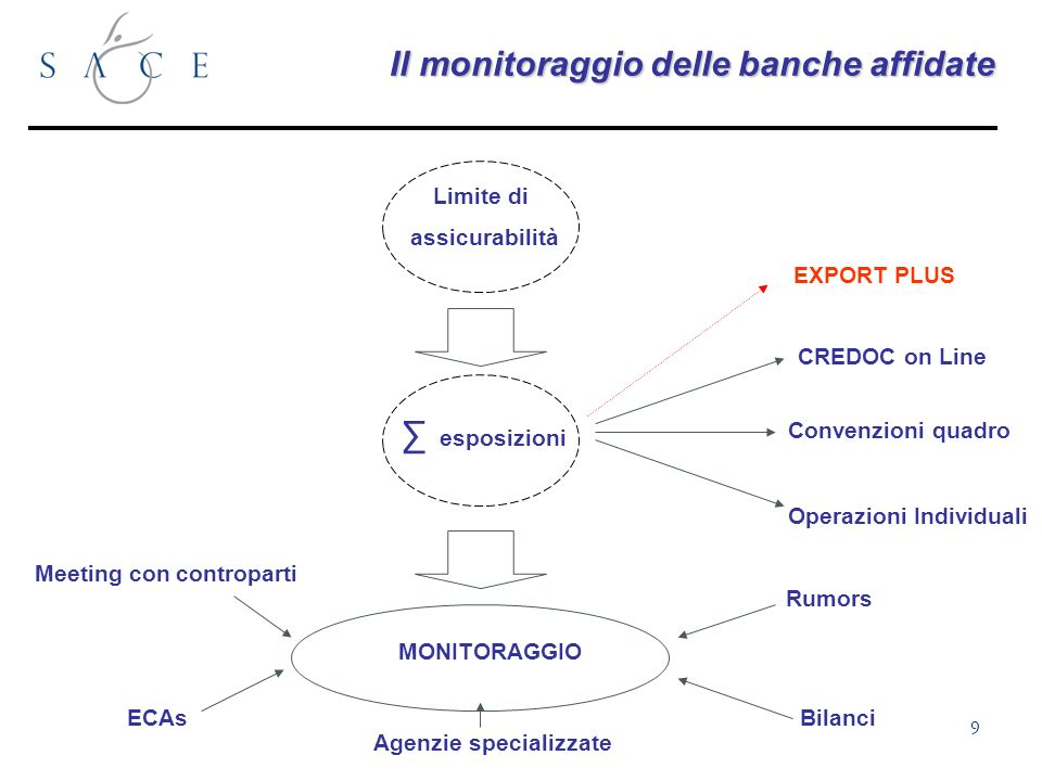 9 Il monitoraggio delle banche affidate esposizioni Limite di assicurabilità CREDOC on Line Convenzioni quadro Operazioni Individuali Rumors Agenzie specializzate MONITORAGGIO ECAs EXPORT PLUS Bilanci Meeting con controparti