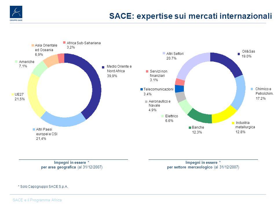 SACE e il Programma Africa SACE: expertise sui mercati internazionali Impegni in essere * per area geografica (al 31/12/2007) Impegni in essere * per
