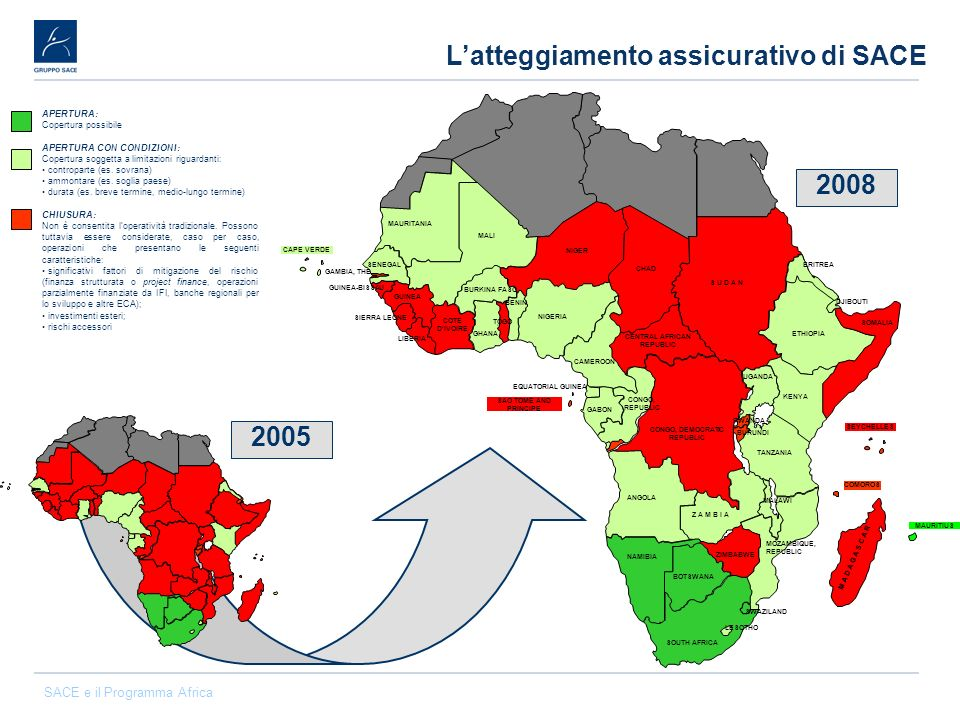 SACE e il Programma Africa Latteggiamento assicurativo di SACE 2005 2008 APERTURA: Copertura possibile APERTURA CON CONDIZIONI: Copertura soggetta a l