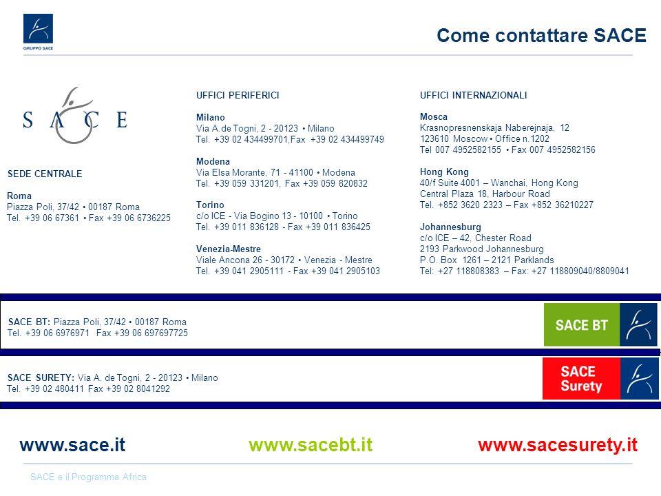 SACE e il Programma Africa Come contattare SACE Torino c/o ICE - Via Bogino 13 - 10100 Torino Tel. +39 011 836128 - Fax +39 011 836425 Venezia-Mestre