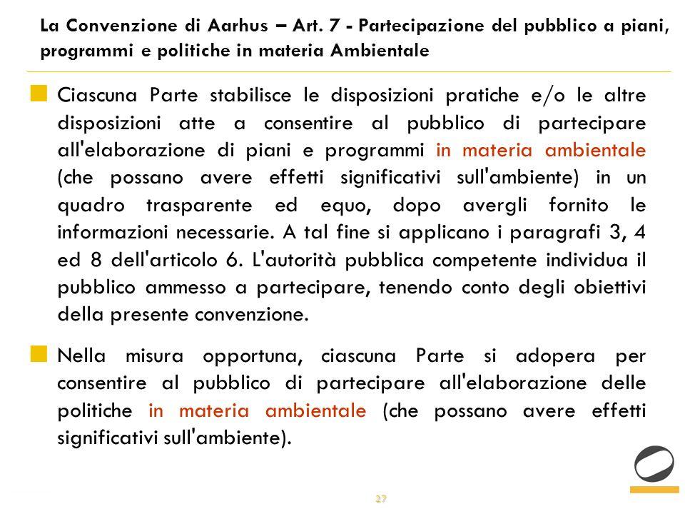 27 La Convenzione di Aarhus – Art.