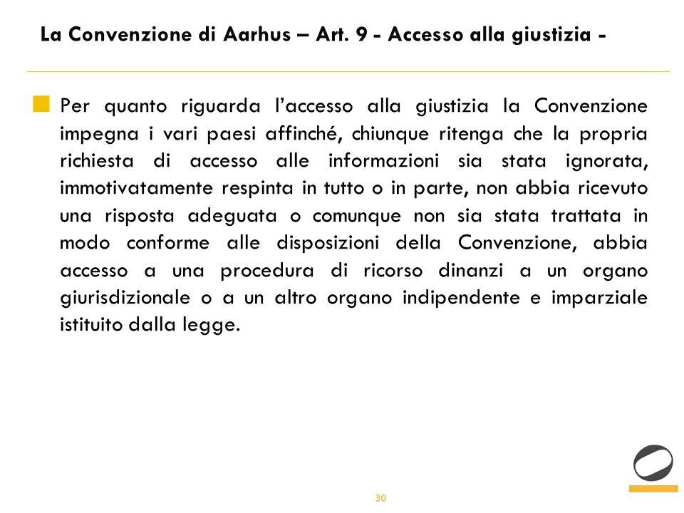 30 La Convenzione di Aarhus – Art.