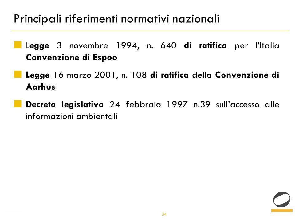 34 Principali riferimenti normativi nazionali Legge 3 novembre 1994, n.