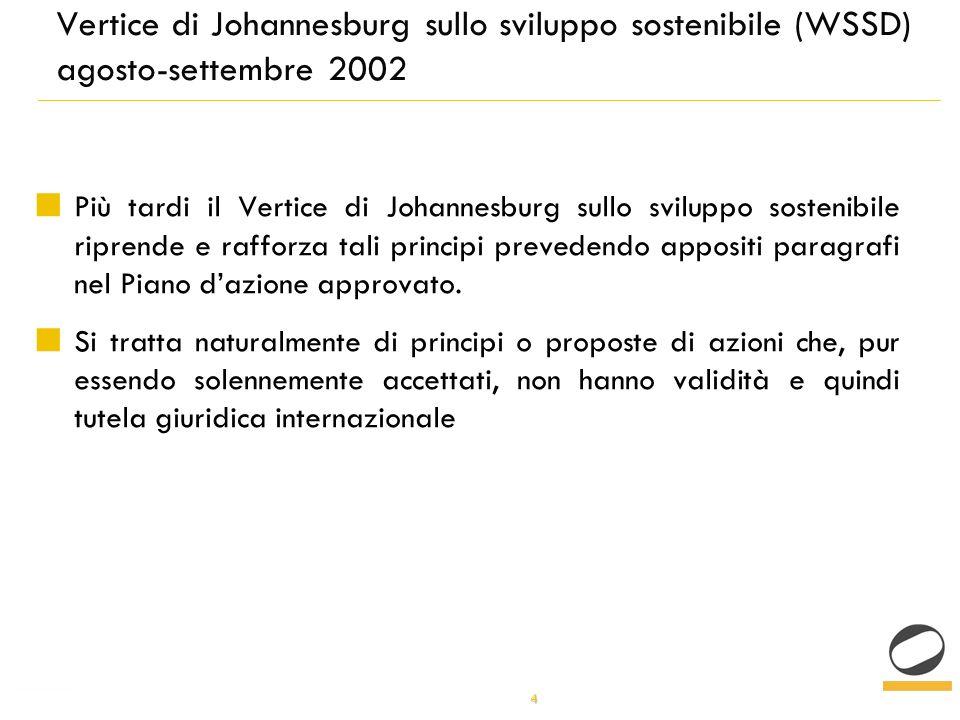 4 Vertice di Johannesburg sullo sviluppo sostenibile (WSSD) agosto-settembre 2002 Più tardi il Vertice di Johannesburg sullo sviluppo sostenibile riprende e rafforza tali principi prevedendo appositi paragrafi nel Piano dazione approvato.