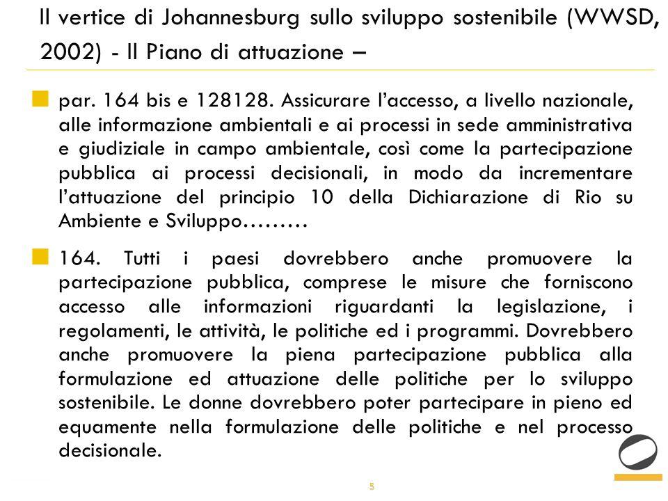 5 Il vertice di Johannesburg sullo sviluppo sostenibile (WWSD, 2002) - Il Piano di attuazione – par.