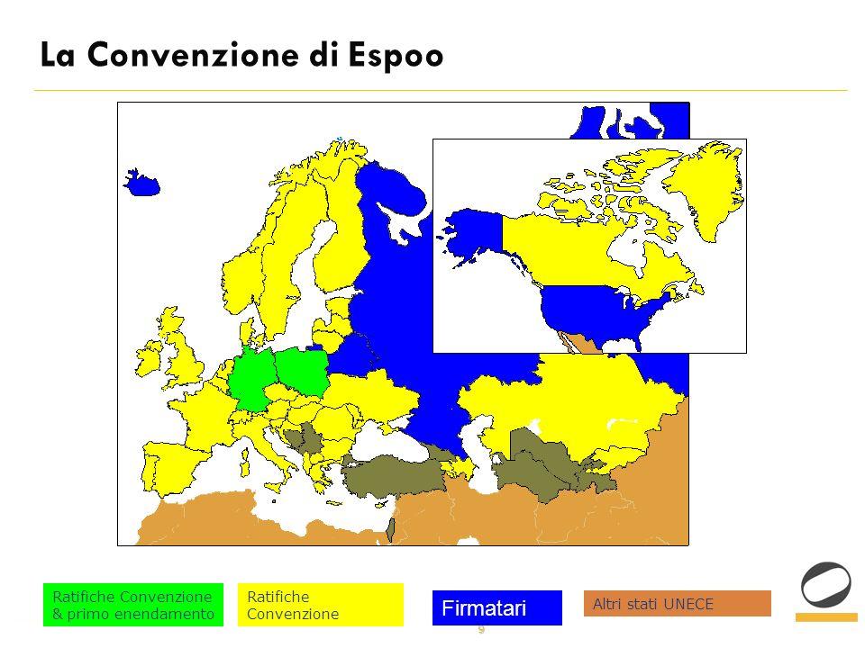 10 La Convenzione di Espoo La Convenzione di Espoo enuncia i principi e definisce le procedure per lapplicazione della valutazione dellimpatto ambientale (v.i.a.) in un contesto transfrontaliero.