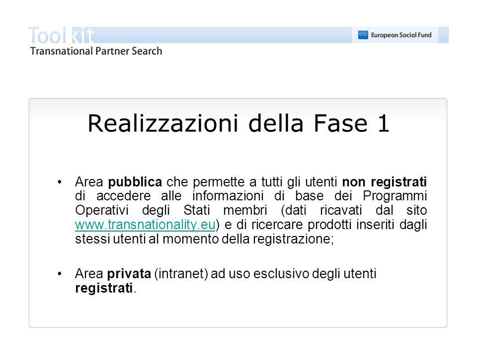Realizzazioni della Fase 1 Area pubblica che permette a tutti gli utenti non registrati di accedere alle informazioni di base dei Programmi Operativi