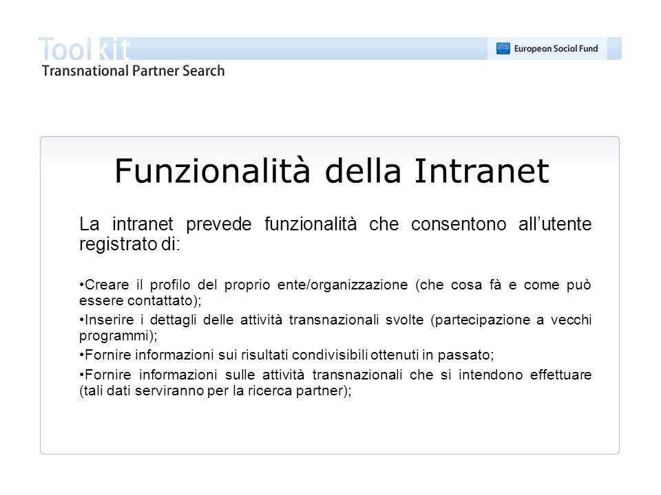 Funzionalità della Intranet (continua) Ricerca partner (tramite parola singola o criteri di ricerca) Stampa dei risultati della ricerca; Modifica del profilo e dei dati presenti; Stampa del profilo; Modifica della password; Cancellazione.