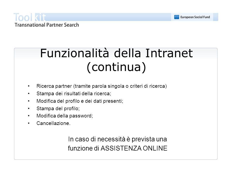 Funzionalità della Intranet (continua) Ricerca partner (tramite parola singola o criteri di ricerca) Stampa dei risultati della ricerca; Modifica del