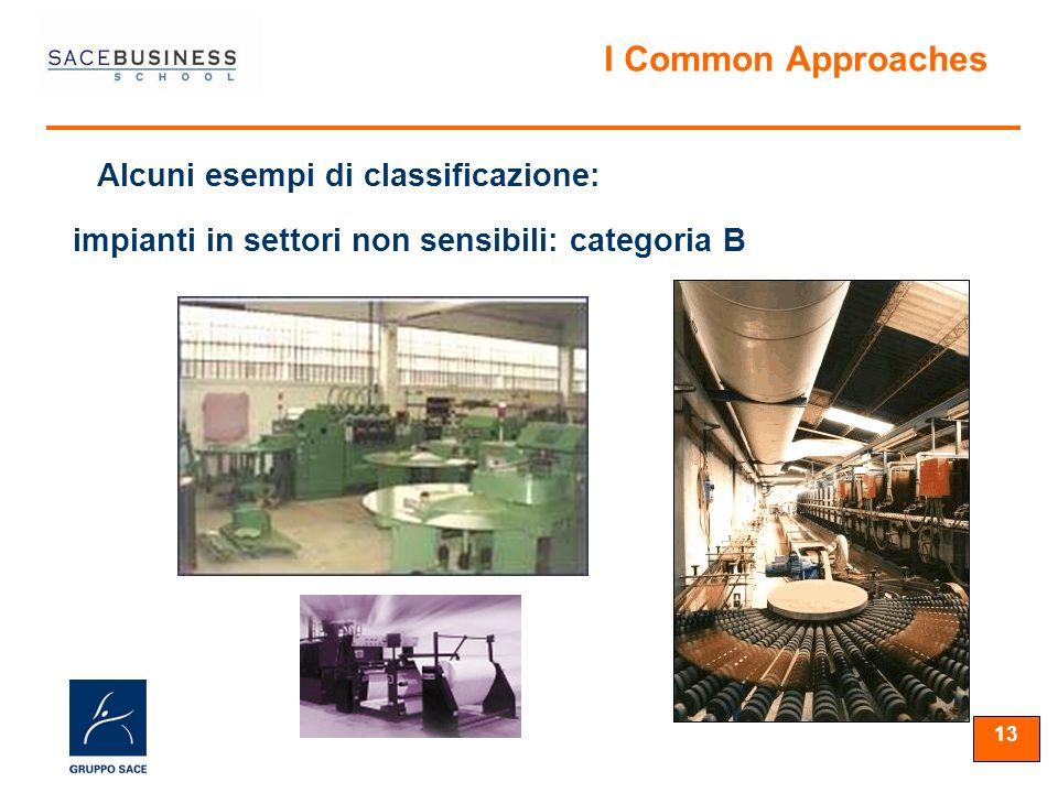 13 Alcuni esempi di classificazione: I Common Approaches impianti in settori non sensibili: categoria B