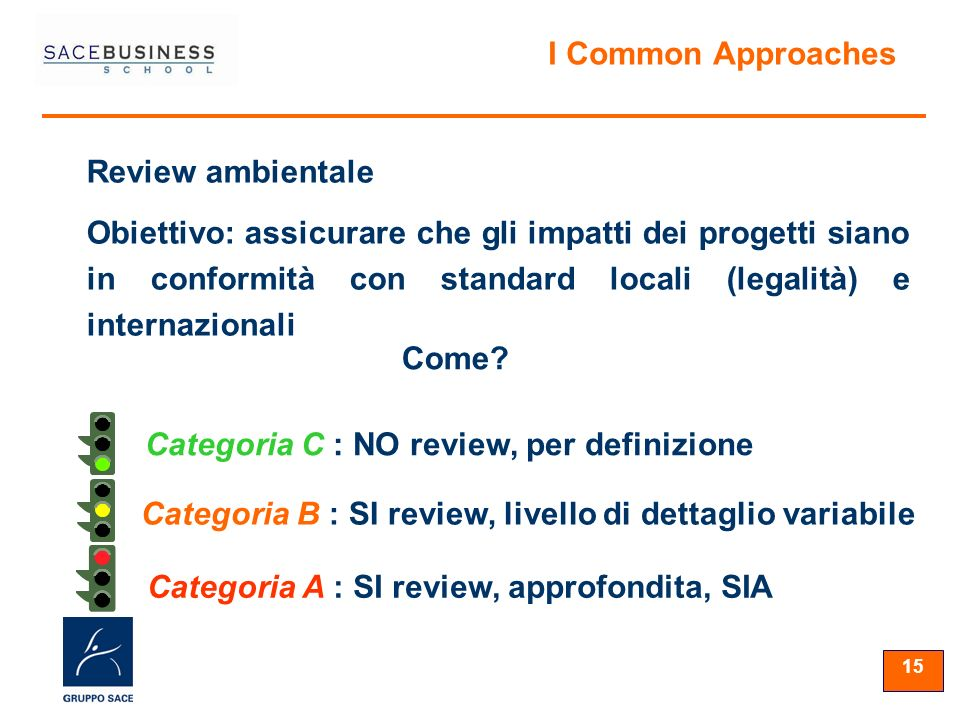 15 Categoria A : SI review, approfondita, SIA Categoria B : SI review, livello di dettaglio variabile Categoria C : NO review, per definizione Review ambientale Obiettivo: assicurare che gli impatti dei progetti siano in conformità con standard locali (legalità) e internazionali Come.