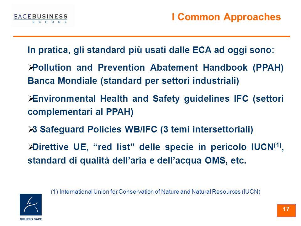 17 In pratica, gli standard più usati dalle ECA ad oggi sono: Pollution and Prevention Abatement Handbook (PPAH) Banca Mondiale (standard per settori