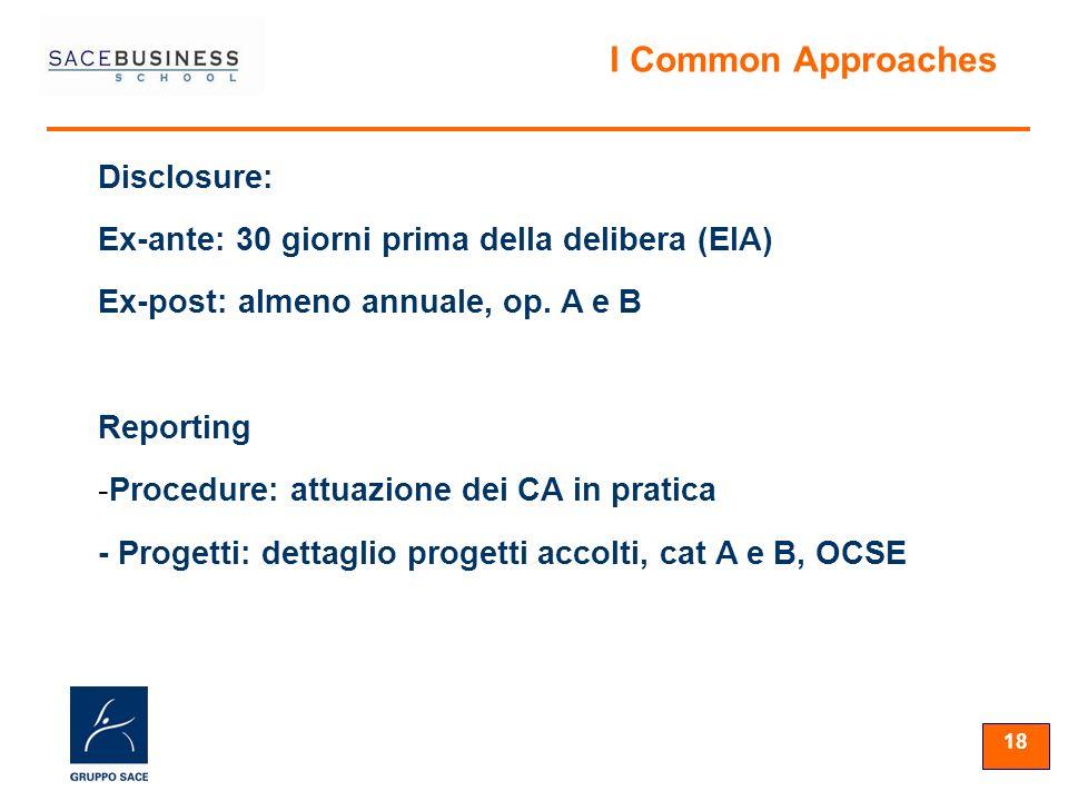 18 Disclosure: Ex-ante: 30 giorni prima della delibera (EIA) Ex-post: almeno annuale, op. A e B Reporting -Procedure: attuazione dei CA in pratica - P