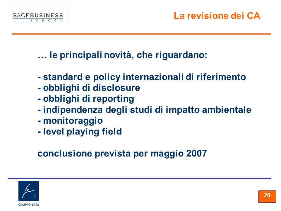 20 La revisione dei CA … le principali novità, che riguardano: - standard e policy internazionali di riferimento - obblighi di disclosure - obblighi d