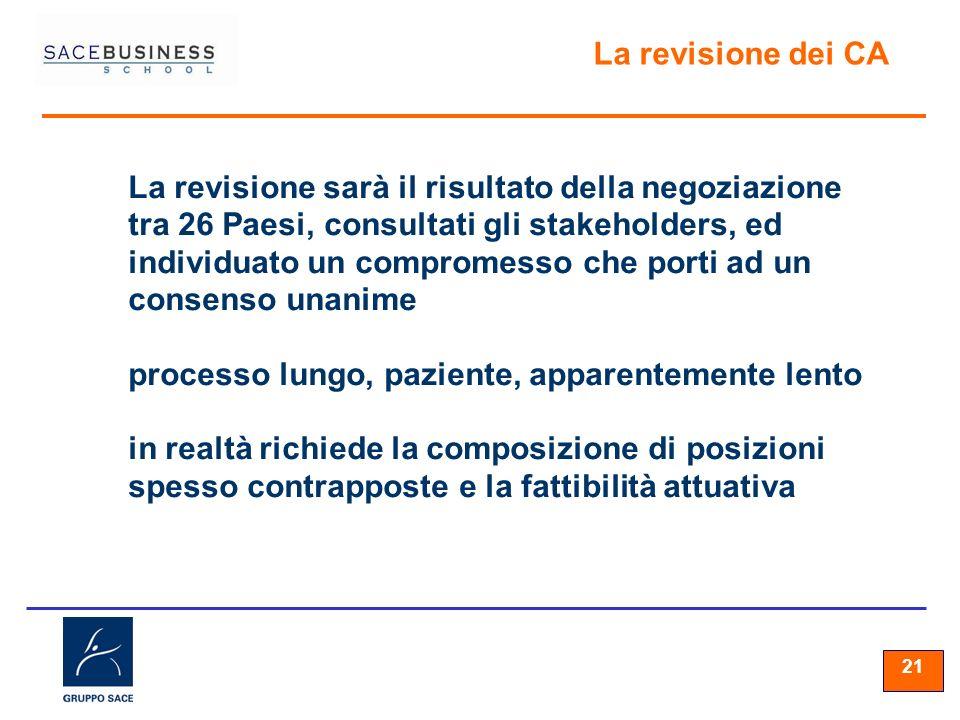 21 La revisione dei CA La revisione sarà il risultato della negoziazione tra 26 Paesi, consultati gli stakeholders, ed individuato un compromesso che