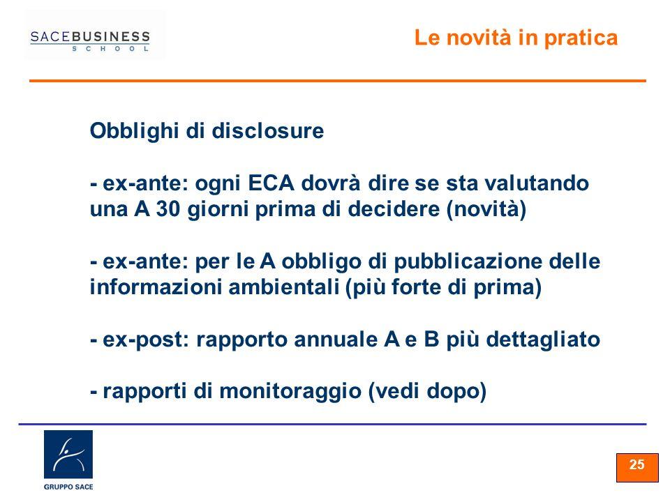 25 Le novità in pratica Obblighi di disclosure - ex-ante: ogni ECA dovrà dire se sta valutando una A 30 giorni prima di decidere (novità) - ex-ante: p