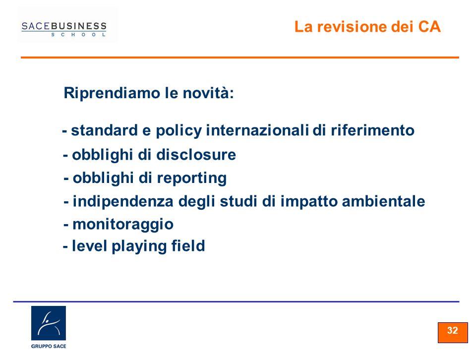 32 La revisione dei CA Riprendiamo le novità: - standard e policy internazionali di riferimento - obblighi di disclosure - obblighi di reporting - indipendenza degli studi di impatto ambientale - monitoraggio - level playing field