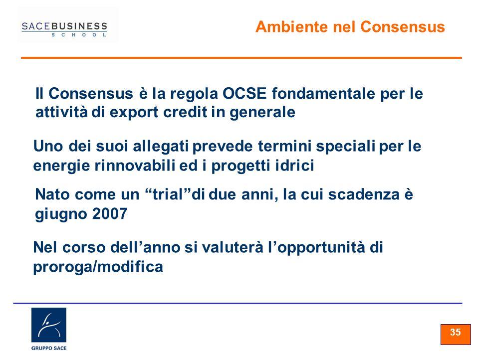 35 Ambiente nel Consensus Il Consensus è la regola OCSE fondamentale per le attività di export credit in generale Uno dei suoi allegati prevede termini speciali per le energie rinnovabili ed i progetti idrici Nato come un trialdi due anni, la cui scadenza è giugno 2007 Nel corso dellanno si valuterà lopportunità di proroga/modifica