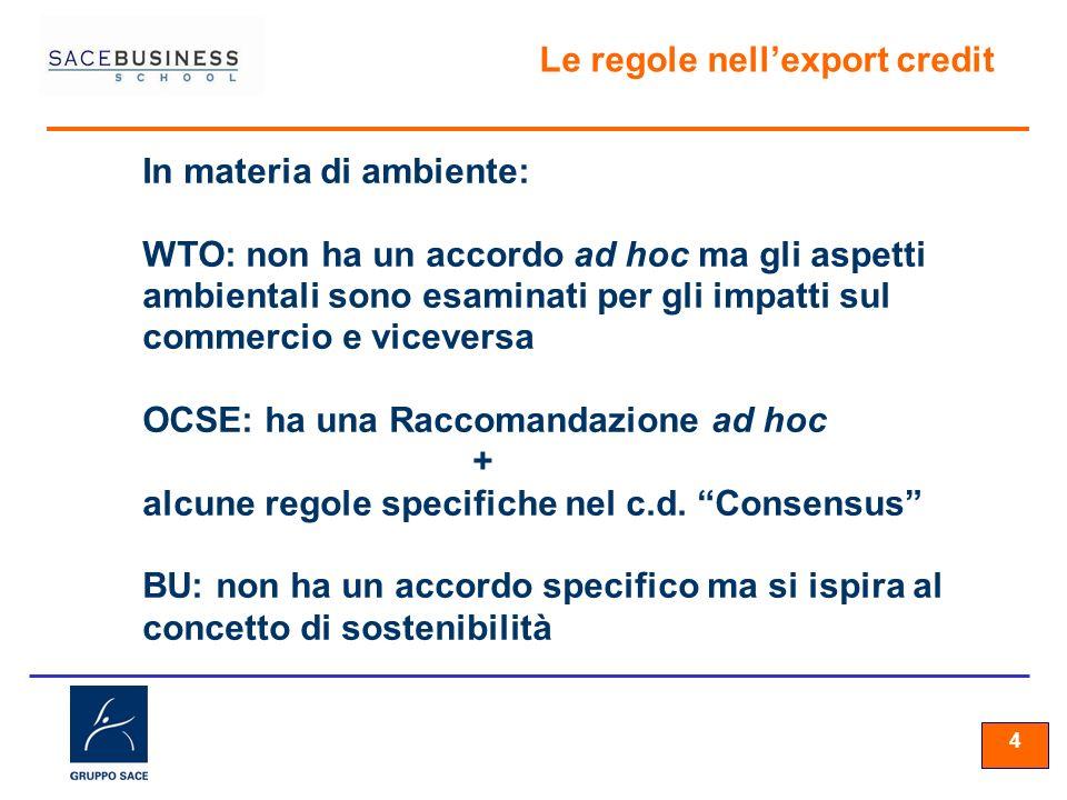 44 4 Le regole nellexport credit In materia di ambiente: WTO: non ha un accordo ad hoc ma gli aspetti ambientali sono esaminati per gli impatti sul commercio e viceversa OCSE: ha una Raccomandazione ad hoc + alcune regole specifiche nel c.d.