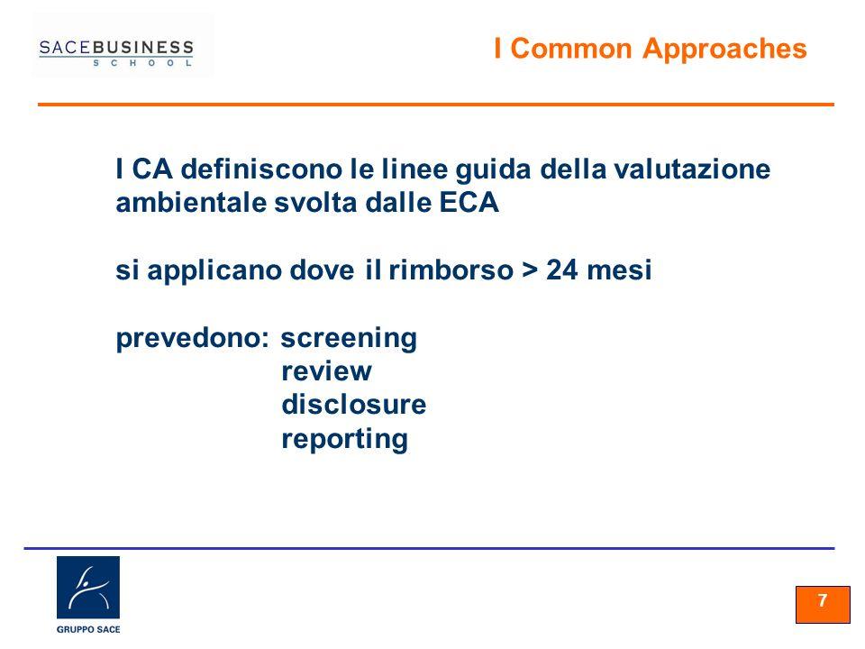 77 7 I Common Approaches I CA definiscono le linee guida della valutazione ambientale svolta dalle ECA si applicano dove il rimborso > 24 mesi prevedono: screening review disclosure reporting