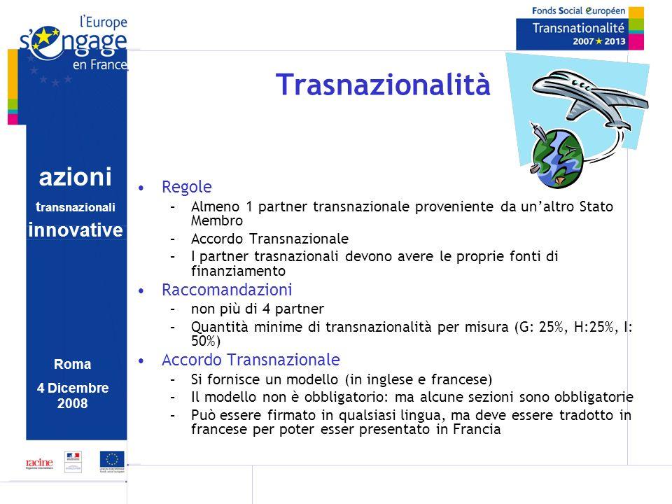 azioni t ransnazionali i nnovative Roma 4 Dicembre 2008 Trasnazionalità Regole –Almeno 1 partner transnazionale proveniente da unaltro Stato Membro –A