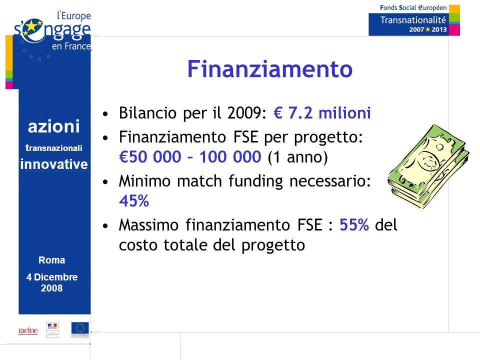 azioni t ransnazionali i nnovative Roma 4 Dicembre 2008 Finanziamento Bilancio per il 2009: 7.2 milioni Finanziamento FSE per progetto: 50 000 – 100 0