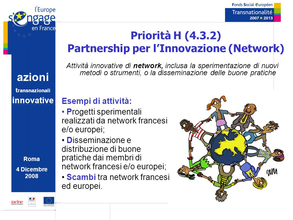 azioni t ransnazionali i nnovative Roma 4 Dicembre 2008 Priorità H (4.3.2) Partnership per lInnovazione (Network) Attività innovative di network, inclusa la sperimentazione di nuovi metodi o strumenti, o la disseminazione delle buone pratiche Esempi di attività: Progetti sperimentali realizzati da network francesi e/o europei; Disseminazione e distribuzione di buone pratiche dai membri di network francesi e/o europei; Scambi tra network francesi ed europei.
