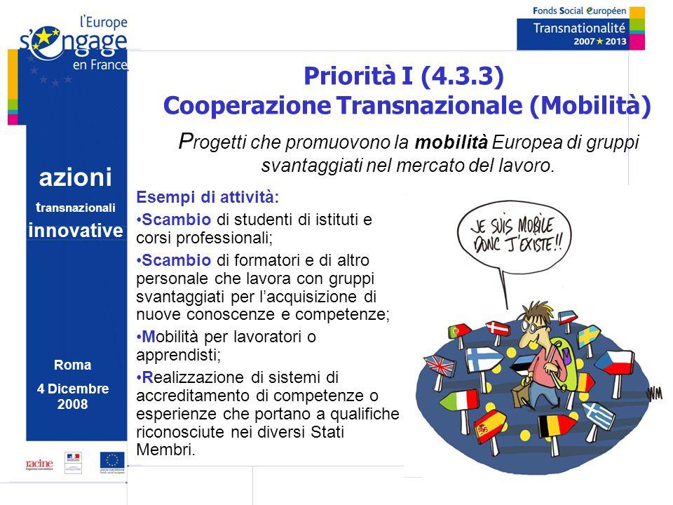 azioni t ransnazionali i nnovative Roma 4 Dicembre 2008 Priorità I (4.3.3) Cooperazione Transnazionale (Mobilità) P rogetti che promuovono la mobilità